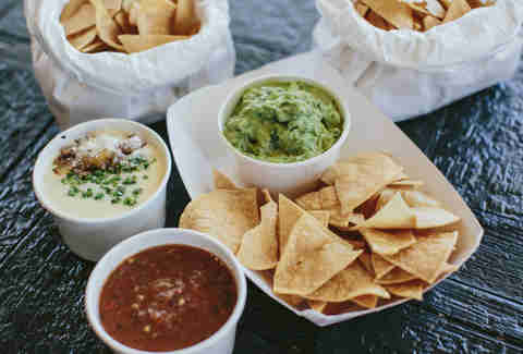 Eight Row Flint, chips, guacamole, salsa, queso