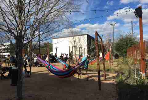 Axlerad, hammocks, Houston beer, beer garden