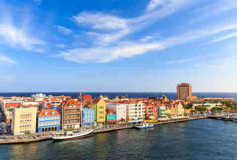 Colorful buildings in Downtown Willemstad, Curacao, Netherlands Antilles