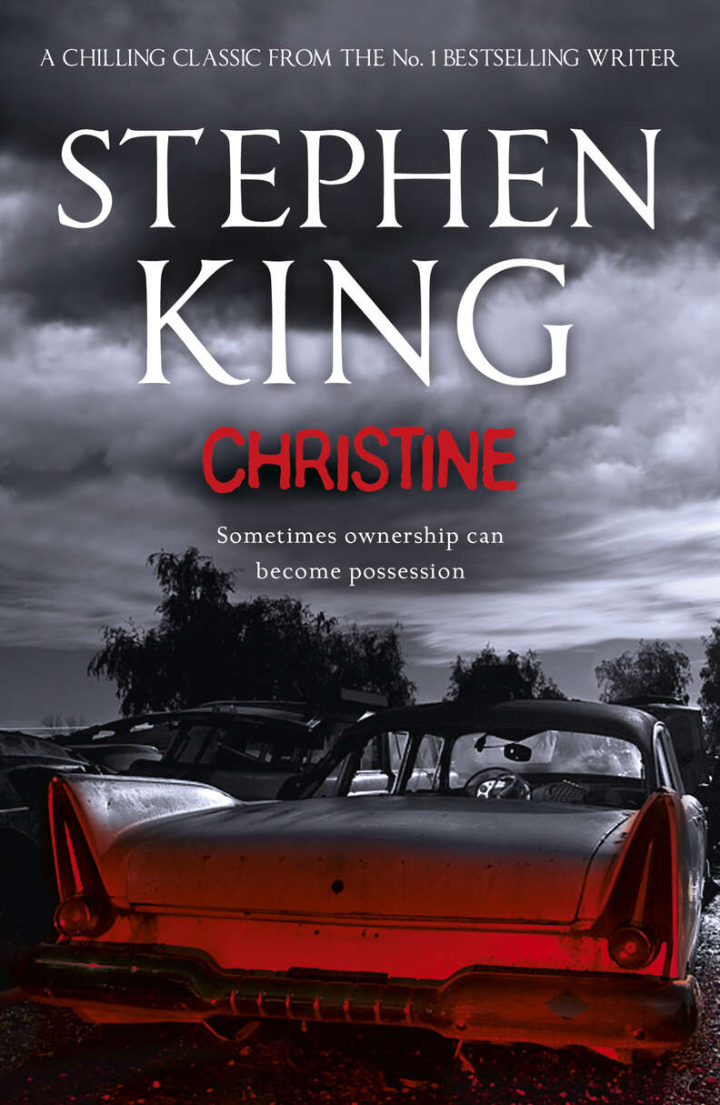 Christine book, cover, scary car