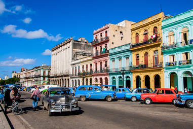 Cars in the colorful street of Havana, Cuba