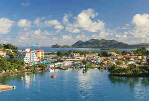 Castries waterfront. This city is the capital of the island of St Lucia, one of the Windward Islands in the West Indies.