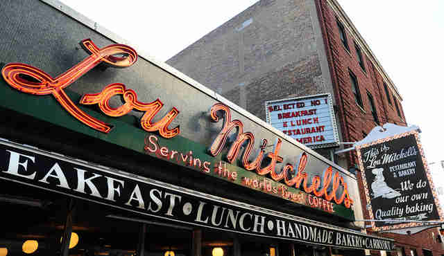 exterior sign for Lou Mitchell's