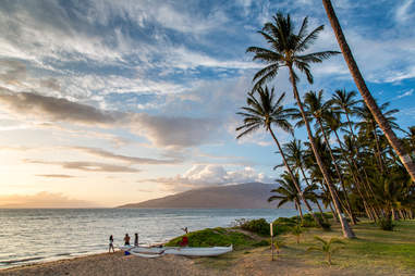 Sunset on the beach in Maui, Hawaii
