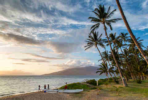 Sunset on the beach in Maui, Hawaii