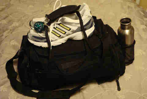 workout bag, gym bag, sneakers, water bottle