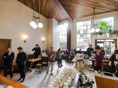 Interior of Sightglass coffee shop in SoMa, San Francisco, California