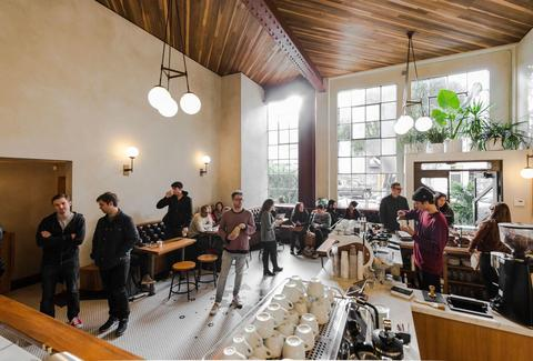 Interior of Sightglass coffee shop in SoMa, San Francisco, California