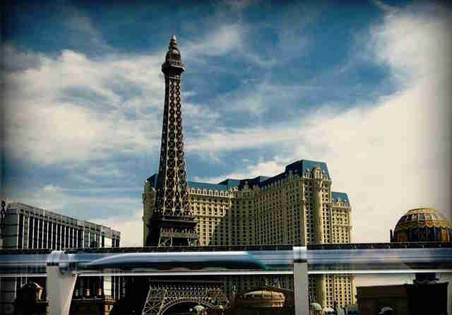 rendering of Hyperloop built above the Las Vegas Strip