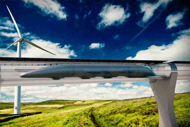 rendering of hyperloop tube in an open field, with a windmill