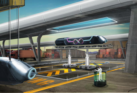 rendering of the Hyperloop loading station by Hyperloop Tech