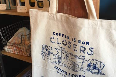 Tote bag found in the interior of Snowbird coffee shop in Inner Sunset, San Francisco, California