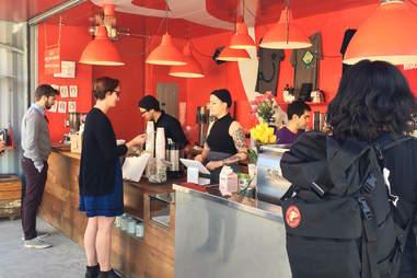 Interior of Ritual coffee shop in Hayes Valley, San Francisco, California