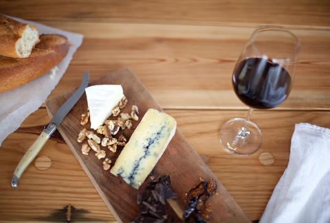 wine, cheese plate, fruits, walnuts
