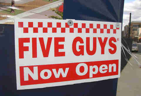 five guys burgers and fries open sign