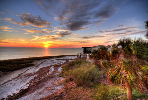 Florida beaches, sunset, beach house