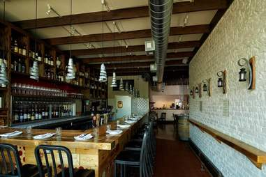 Terzo wine bar with rustic accents