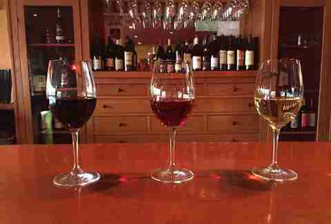 glasses of red and white at riverview wine bar