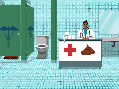 poop transplant, doctor, hospital, bathroom