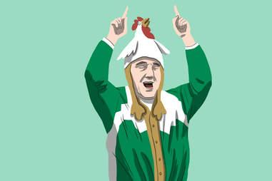 Celtics superfan with chicken hat
