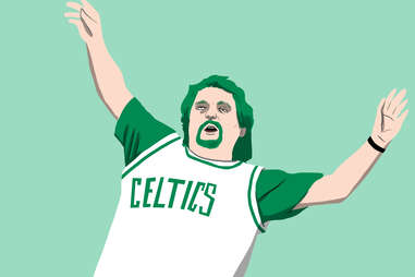 Celtics superfan with green hair