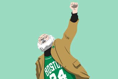 Celtics superfan chest pump guy, aka Suit Coat Santa