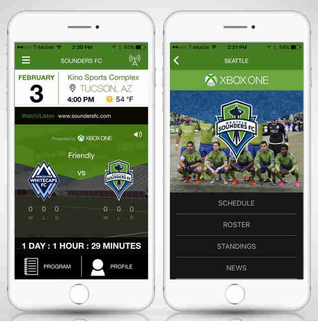 Sounders FC app screenshot for Seattle