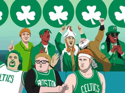 Illustration of Celtics superfans cheering