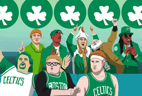Illustration of Celtics superfans cheering