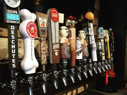 taps of beer at tavern of little italy in cleveland ohio