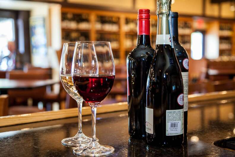 Glasses of red and white wine at Foxcroft Wine Co.