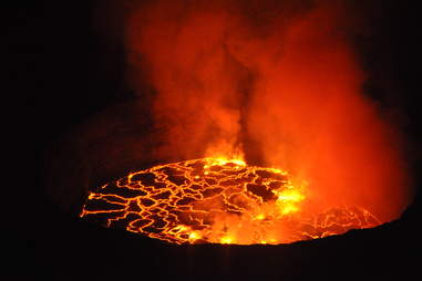 Mount Nyiragongo, an active volcano, in the Democratic Republic of the Congo in Africa