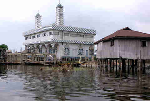 A village and Shia mosque on Lake Nokoue in Ganvie, Benin in Africa