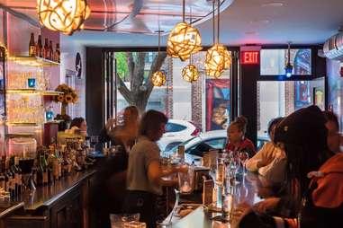 Interior shot of bar at Jet wine bar