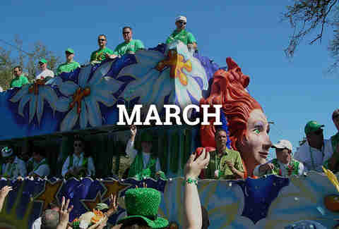 parade float in New Orleans for St. Patick's Day
