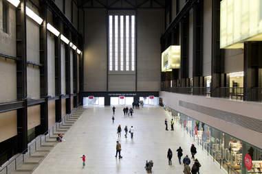 Visitors in Turbine Hall in the Tate Modern art gallery in London, United Kingdom