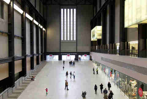 Visitors in Turbine Hall in the Tate Modern art gallery in London, United Kingdom