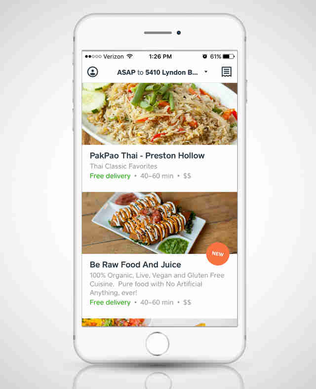 Caviar app open on a smart phone
