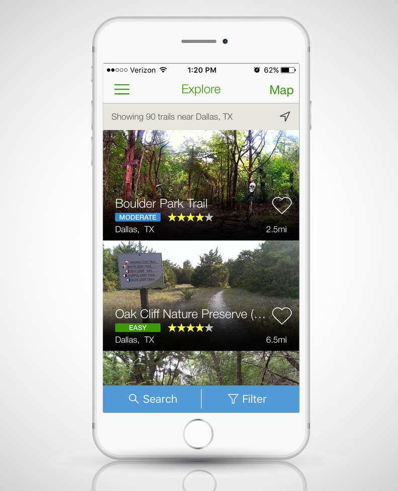 All Trails app open on a smart phone