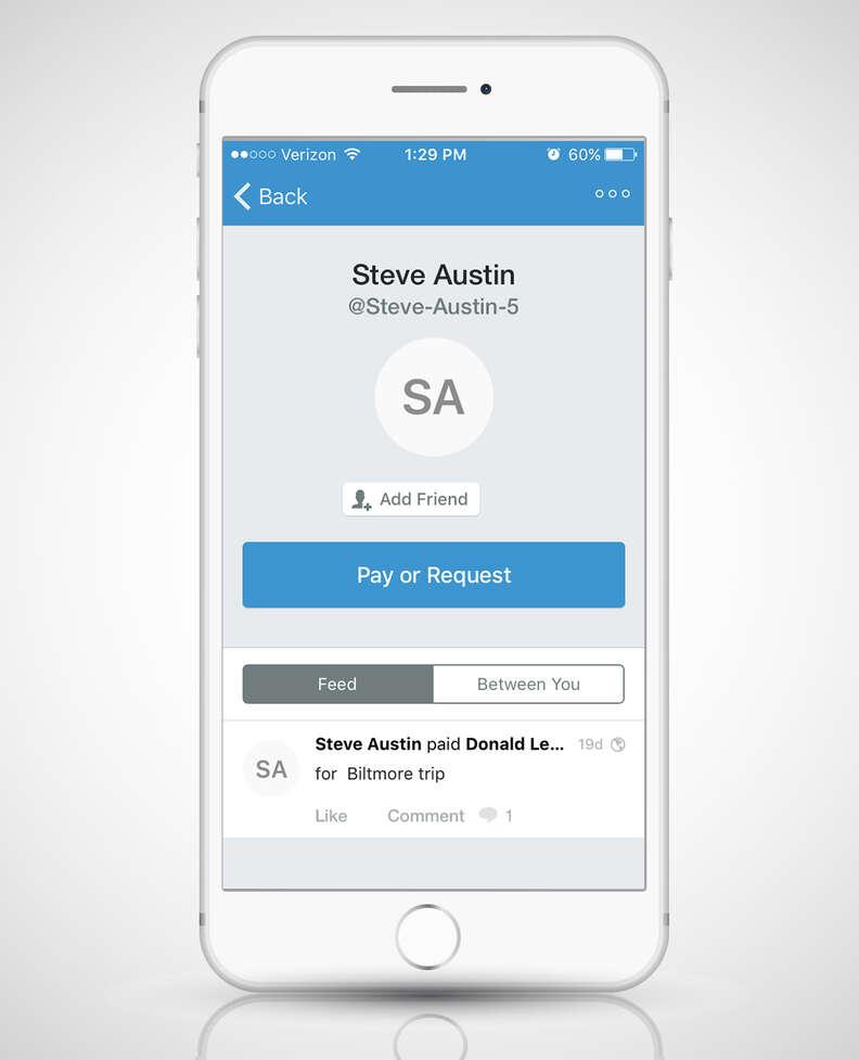 Venmo app open on a smart phone