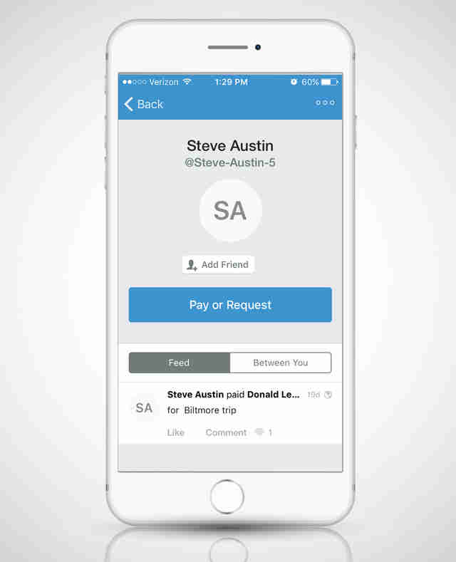 Venmo app open on a smart phone