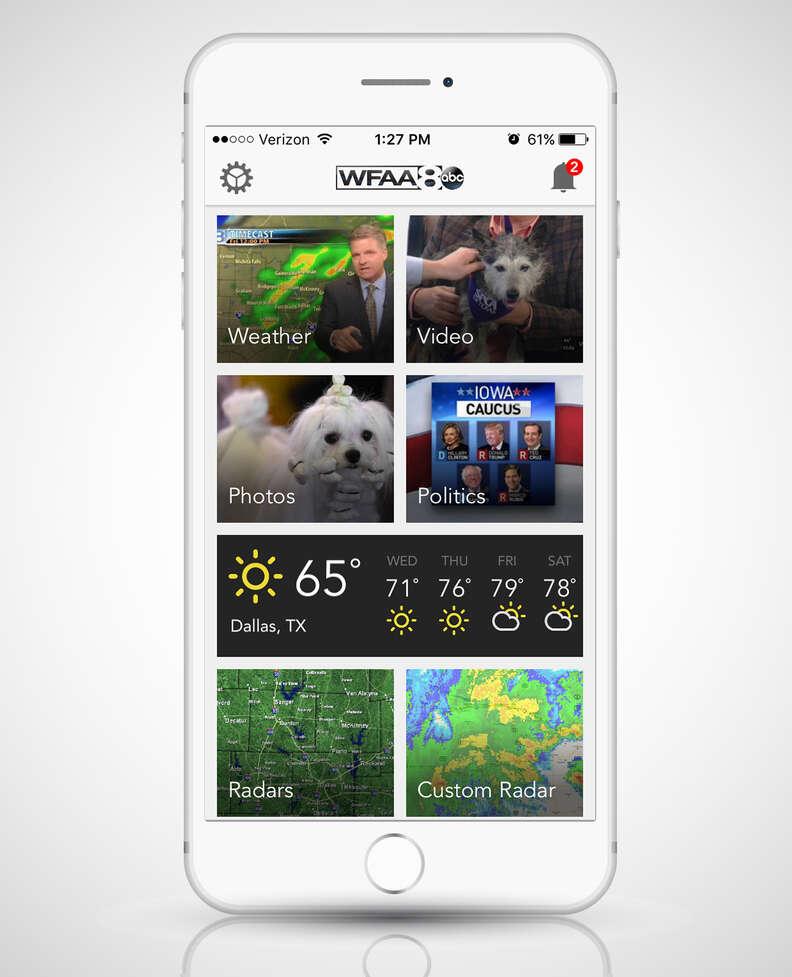WFAA app open on a smart phone