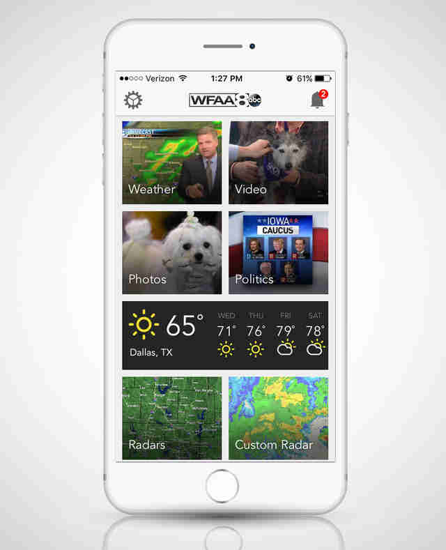 WFAA app open on a smart phone