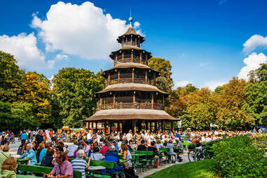 Biergarten by the Chinese Tower in the English  Garden in Munich, Germany