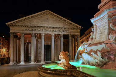 Pantheon and fountain at night in Rome, Italy