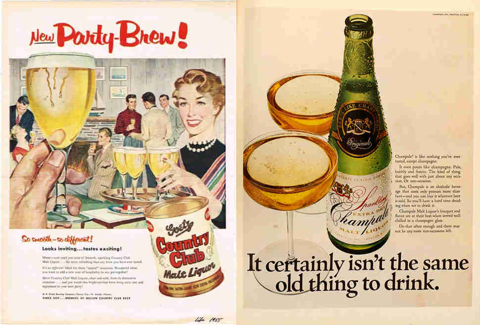 Old malt liquor ads for Country Club and Champale