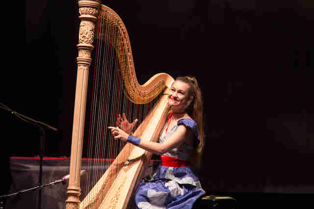 joanna newsom on stage playing a harp