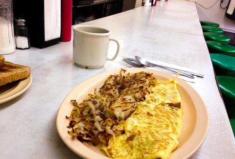 eggs and coffee at a diner counter