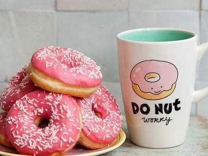 pink donuts with sprinkles and cute mug at donut alley in larkspur