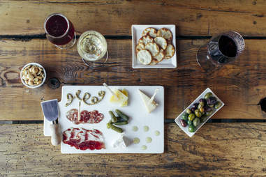 Wine, charcuterie, and appetizers at The Ruby Tap in Milwaukee, Wisconsin